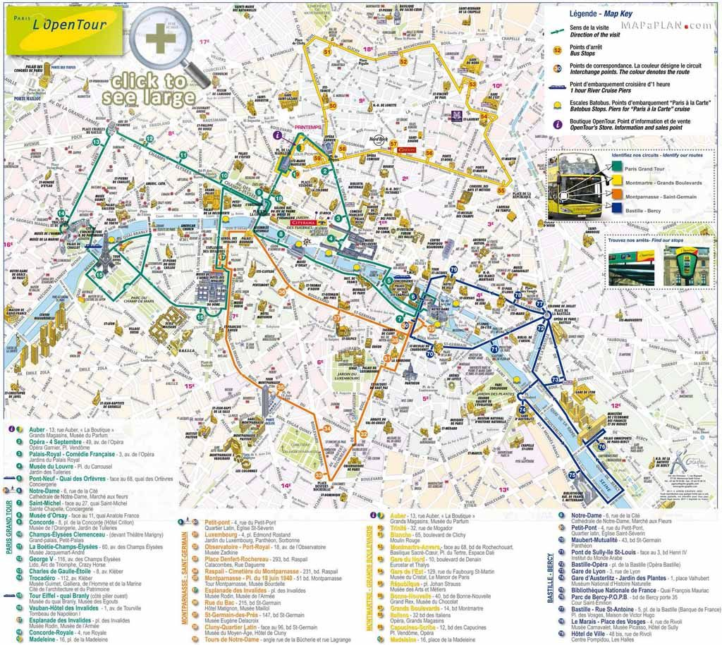 paris top tourist attractions map open top double decker bus tour