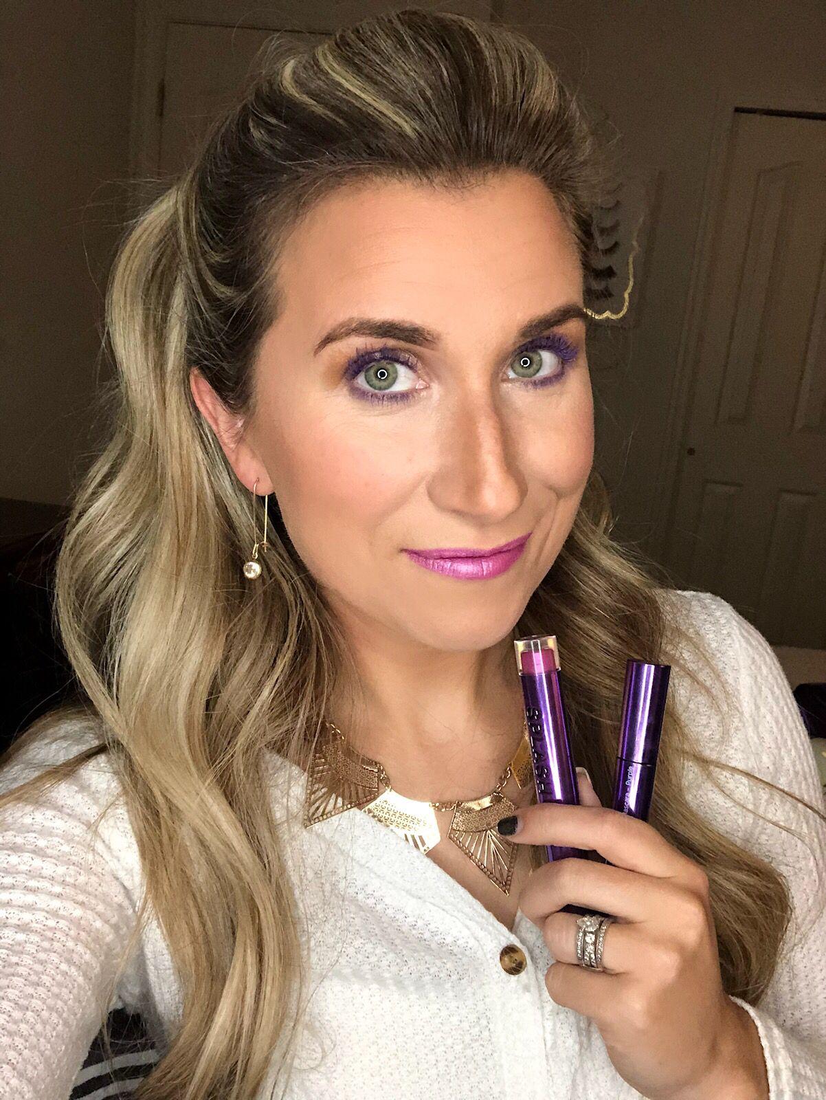Super trending! Purple mascara and that metallic splash