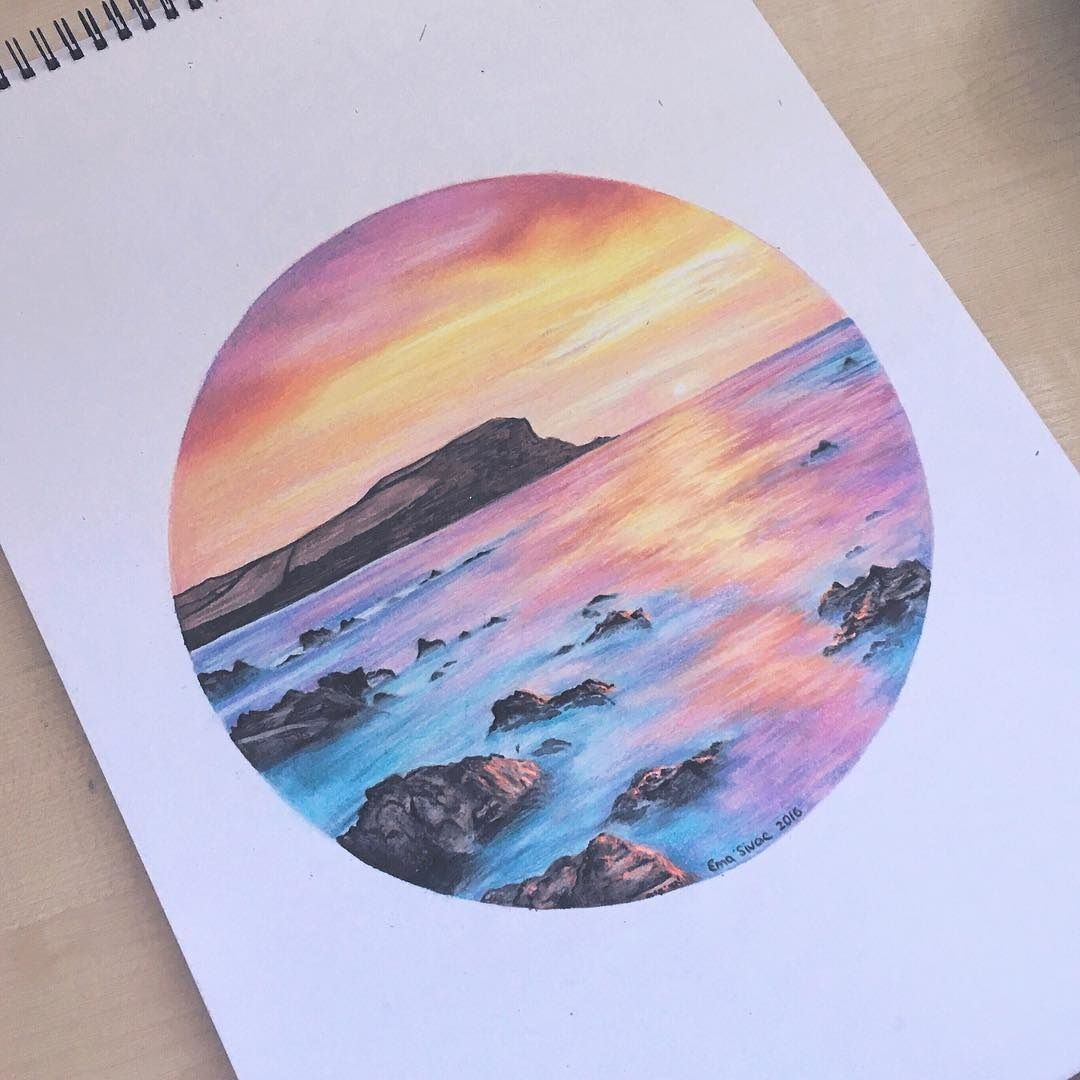 How to draw with colored pencils - Got A Slight Obsession With Popsockets At The Moment And I Was Thinking How Lovely Would This Look In One Dreamy Sunset Ema Sivac Colored Pencils 2016
