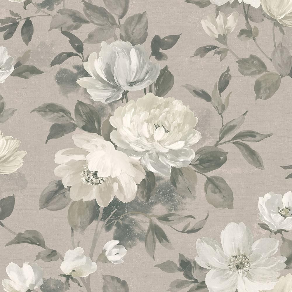 Wall Vision 57.8 sq. ft. Peony Light Grey Floral Wallpaper