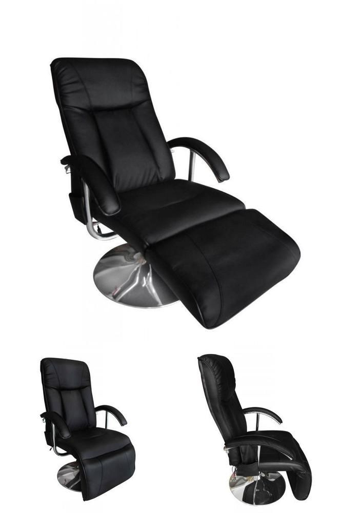 Black Recliner Massage Chair Artificial Leather Electric Armchair Modern TV  Seat