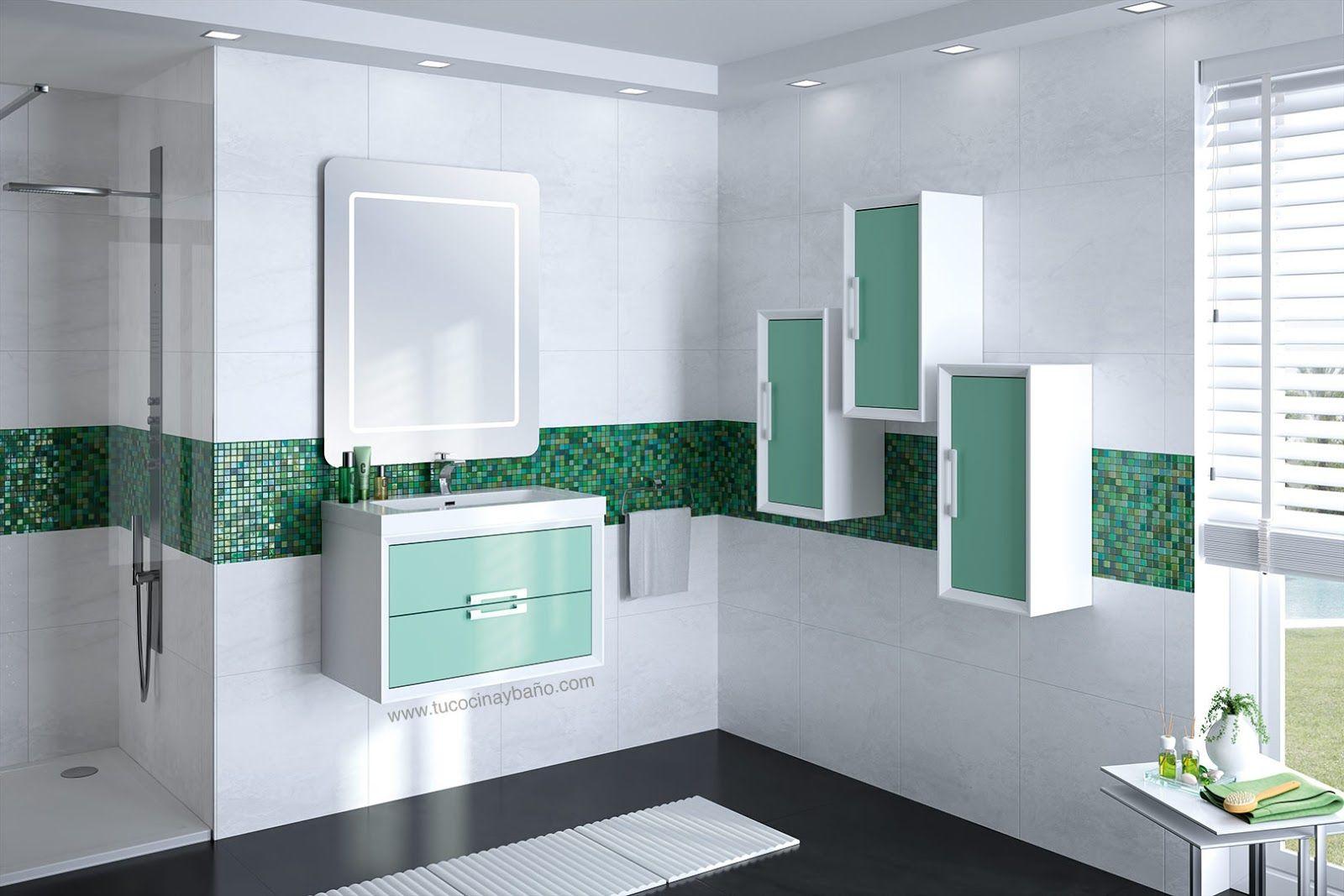 Mueble De Bano Verde Turquesa Blanco Bicolor Muebles De Bano