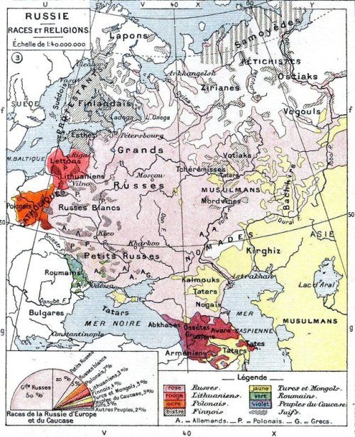 Ethnic map of European Russia before the First World War. | Mapping ...