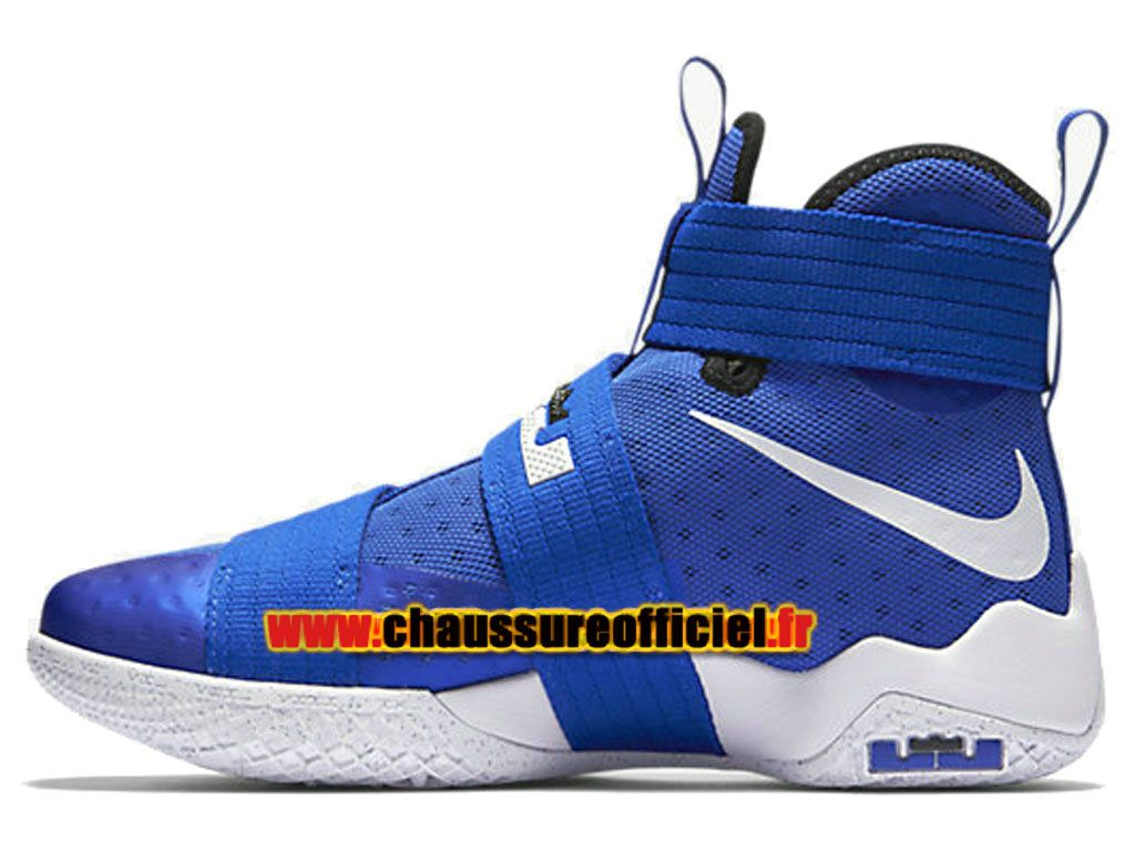f24ef8abe0681 Officiel Nike Zoom LeBron Soldier 10 Chaussures Nike Basketball Pas Cher  Pour Homme Bleu Blanc 844374-410