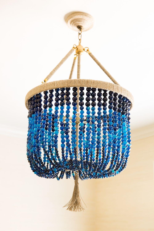 Navy Blue Beaded Light In 2020 Chandelier Art Beaded Chandelier Blue Decor