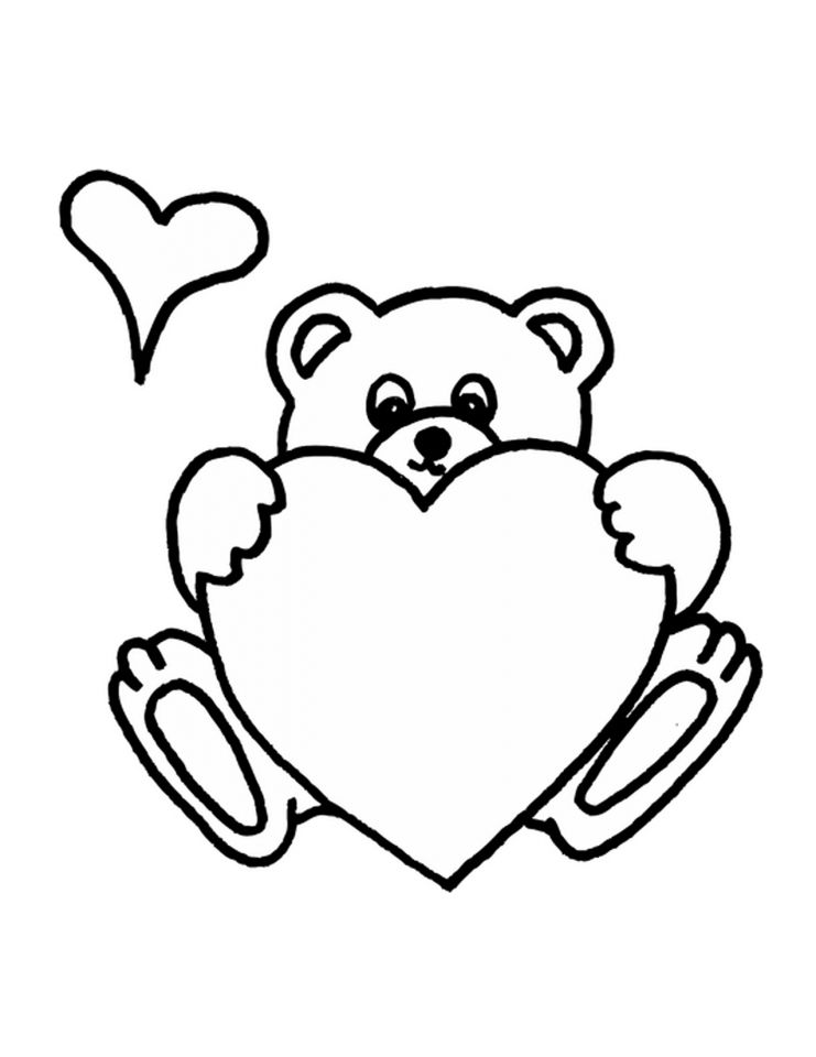 Heart Coloring Pages Teddy Bear Coloring Pages Heart Coloring