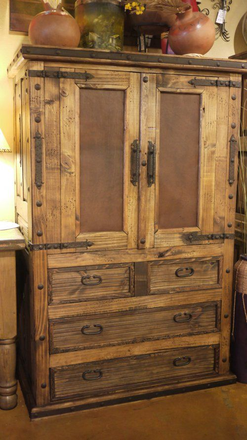 Old Door Leather In Lay Armoire By The Rustic Gallery Of