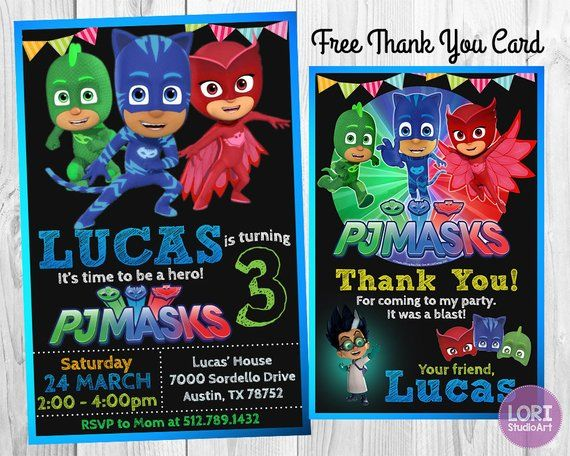 PJ Masks Invitation With Free Thank You Card InvitationBirthday PartyMasks PartyPrintab