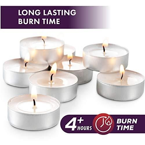 Photo of MontoPack Unscented White Tealight Candles Bulk (100)   Smokeless, Dripless, Long Lasting Burning Paraffin Tea Lights   Small Votive Mini Candles for Home, Pool, Shabbat, Weddings   Emergency Candles