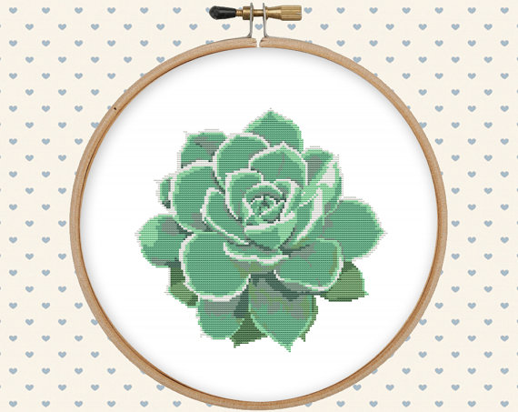 Succulent Cross Stitch Pattern Pdf Instant Download Modern Etsy Cross Stitch Flowers Cross Stitch Patterns Flowers Cactus Cross Stitch