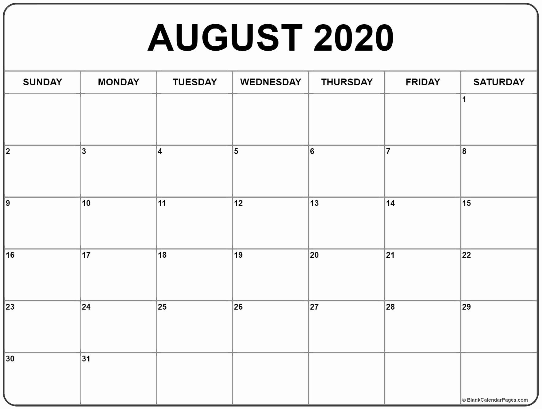 August 2020 Calendar Blank With Images Calendar Printables