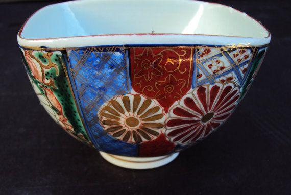 Antique Japanese Imari Bowl and Spoon Signed Taimin Seika Nen Sei