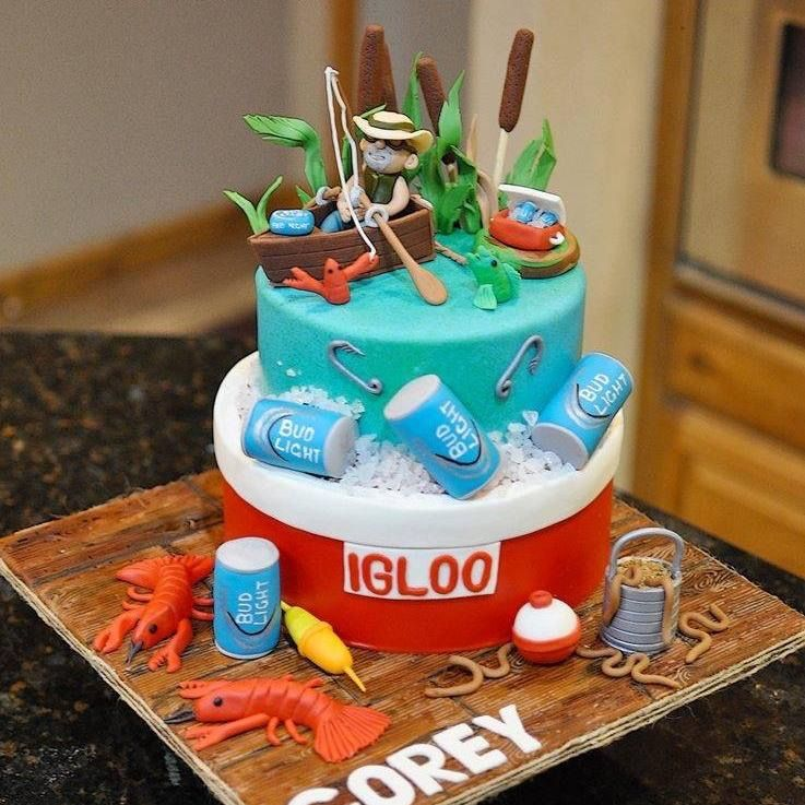 Stupendous Fishing And Beer Birthday Cake Www Facebook Com Cakesforfun Personalised Birthday Cards Epsylily Jamesorg