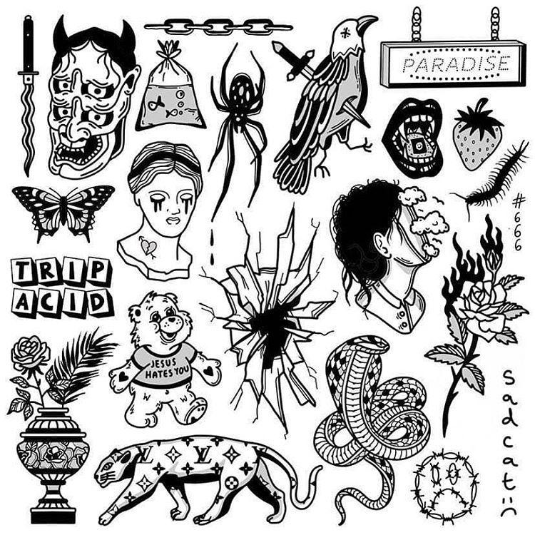 "Tattoo & Sketches on Instagram: ""Sketches by @sadcattats . . . . #tattoo #blackwork #tattooideas #tattooflash #oldschooltattoo #classictattoo #traditionaltattoo #art…"""