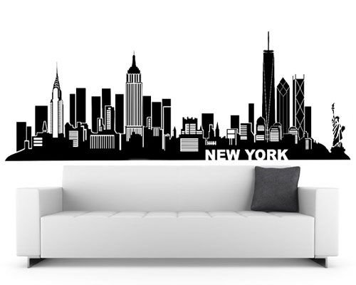 New york wall decal city skyline theme black vinyl wall for City themed bedroom designs