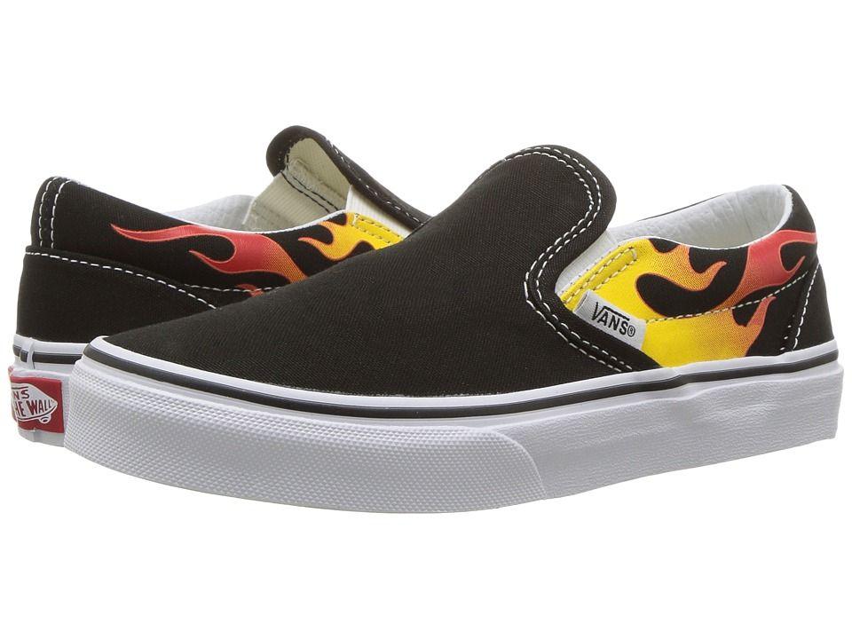d1a7463019bc81 Vans Kids Classic Slip-On (Little Kid Big Kid) Boys Shoes (Flame) Black  Black True White