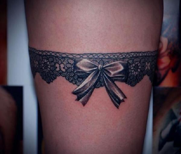 Tatouage Noeud Jarretiere Dentelle Cuisse Femme Tatoo Tattoos