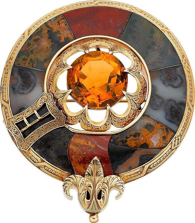 Victorian 15K Gold Brooch Pin Pendant w/ Agate, Cairngorm (Citrine) Scottish 14K