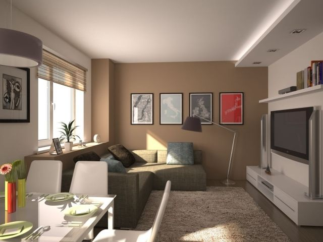 kleines wohnzimmer mit essbereich modern einrichten beige weiß, Wohnzimmer dekoo