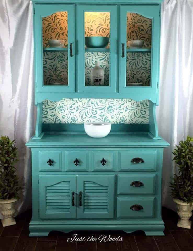 China Cabinet Makeover in Sea Foam with Stencil Backing images