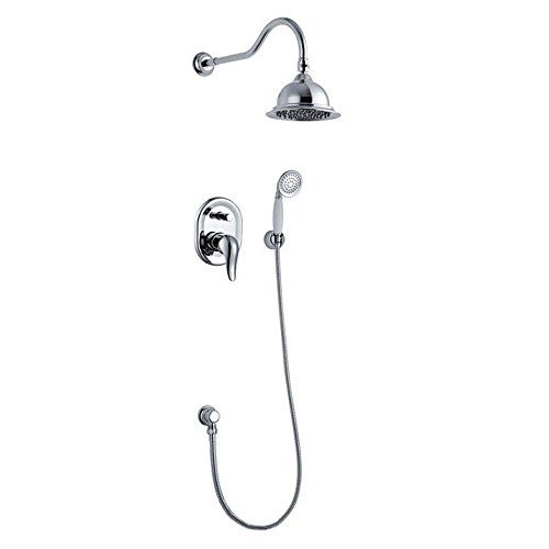 Phasat Azf2r2 Wall Mount Mixer Shower Combo Set 6 Inches Rainfall Shower Head And Handheld Shower Head With Sho Shower Holder Handheld Shower Head Mixer Shower