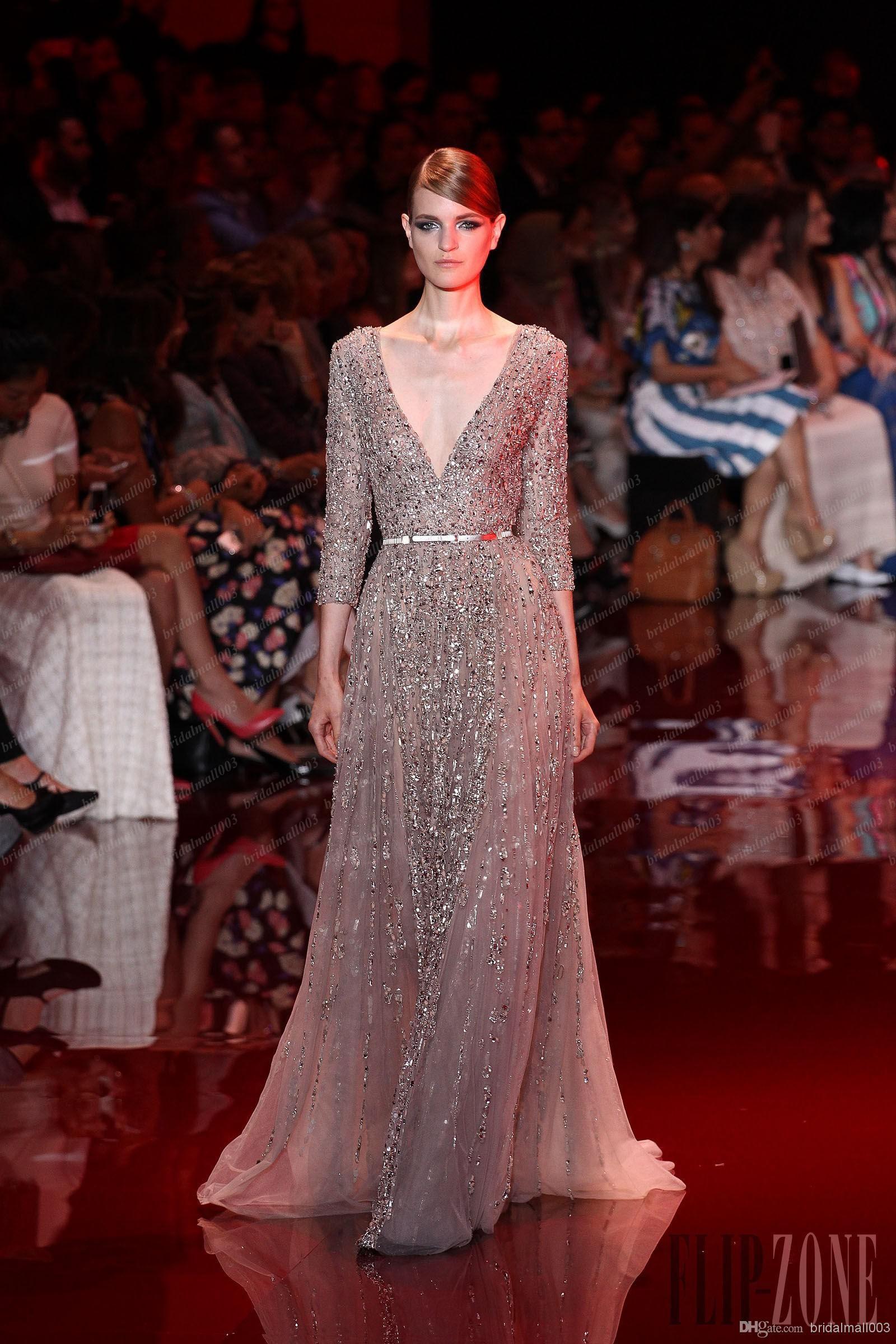 elie saab wedding dress long sleeves vneck aline with