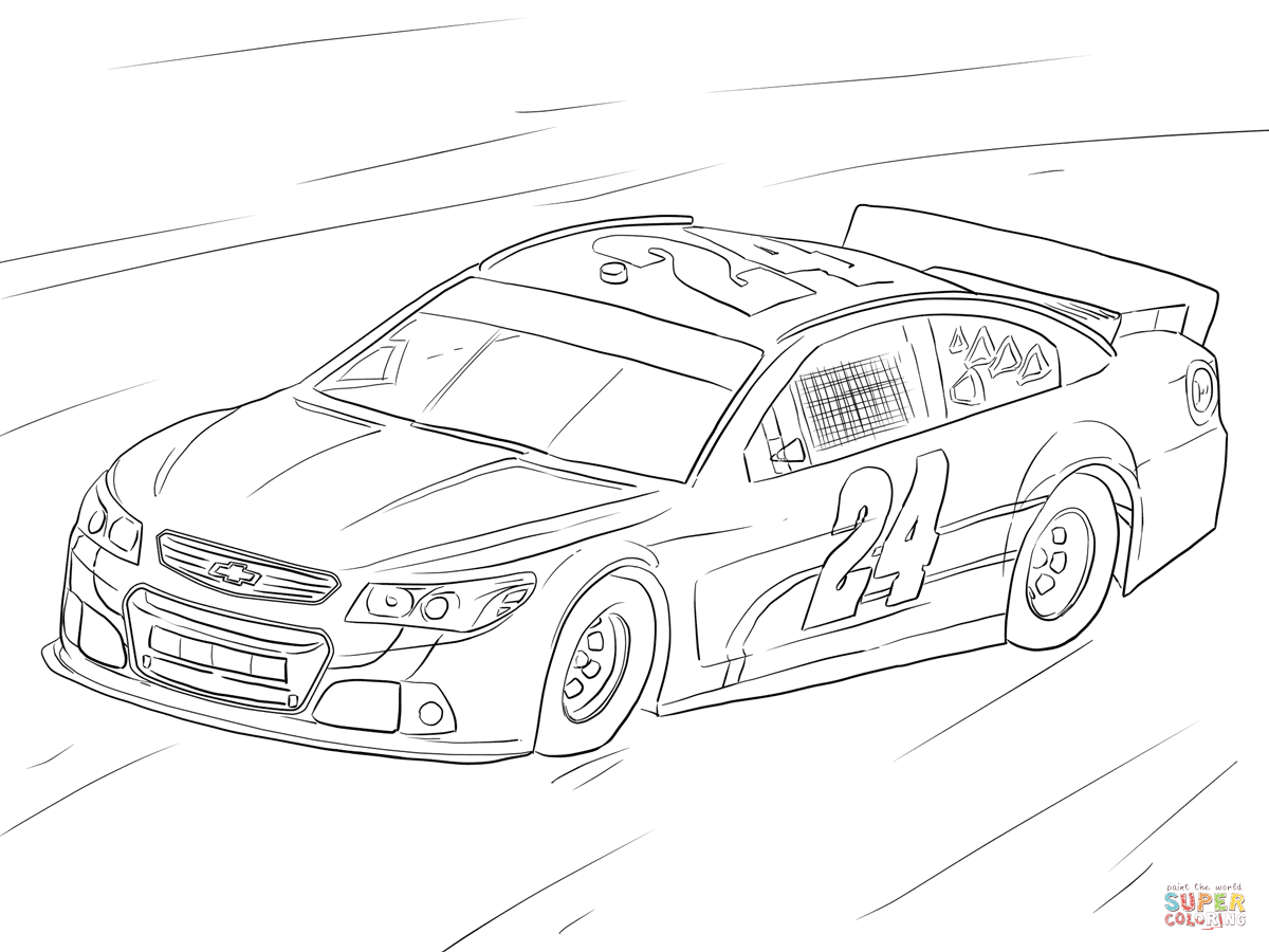 jeff gordon nascar car coloring page free printable