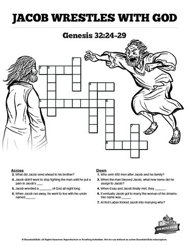 The Story Of Jacob Wrestling With God Sunday School Crossword
