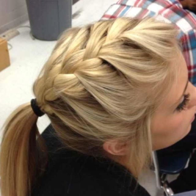 french braid into a ponytail | great hairstyle for volleyball, track, soccer, etc.