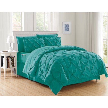 8 Piece Turquoise Luxury Pintuck Comforter//Bedding+Sheet Set Bed-in-A-Bag