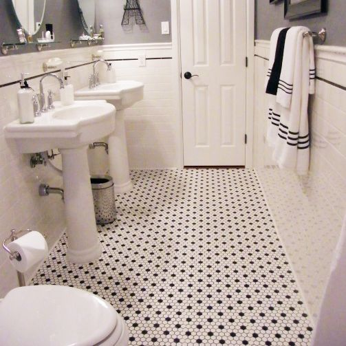 Floor Tile Bathroom Is About Same Size And Dimensions As Ours White Hexagon Tile Bathroom Hexagon Tile Bathroom Black And White Tiles Bathroom