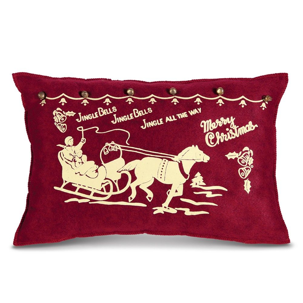 $24.95 Vintage Jingle Bells Pillow | Sturbridge Yankee Workshop