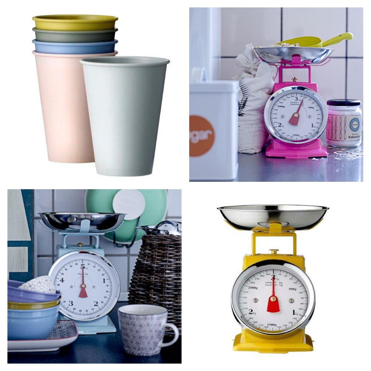 Bloomingville kitchen scales and mat plastic mugs for outdoor use ❤ www.bloomingville.com