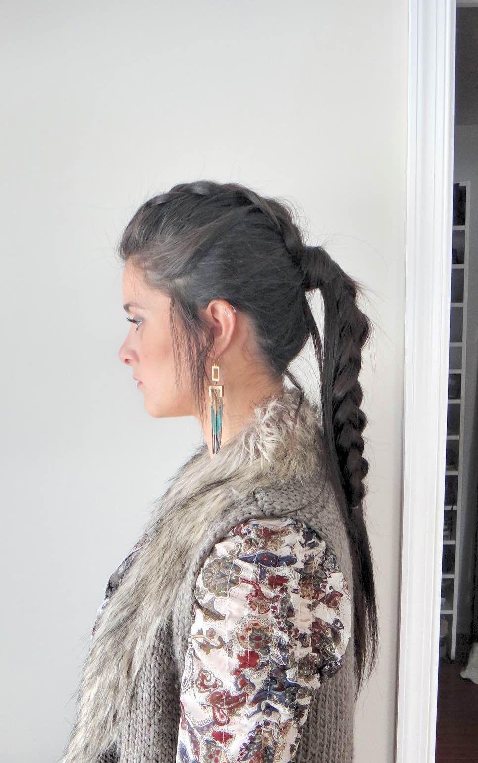 Dutch braid mohawk ponytail side view loving this updo rocker