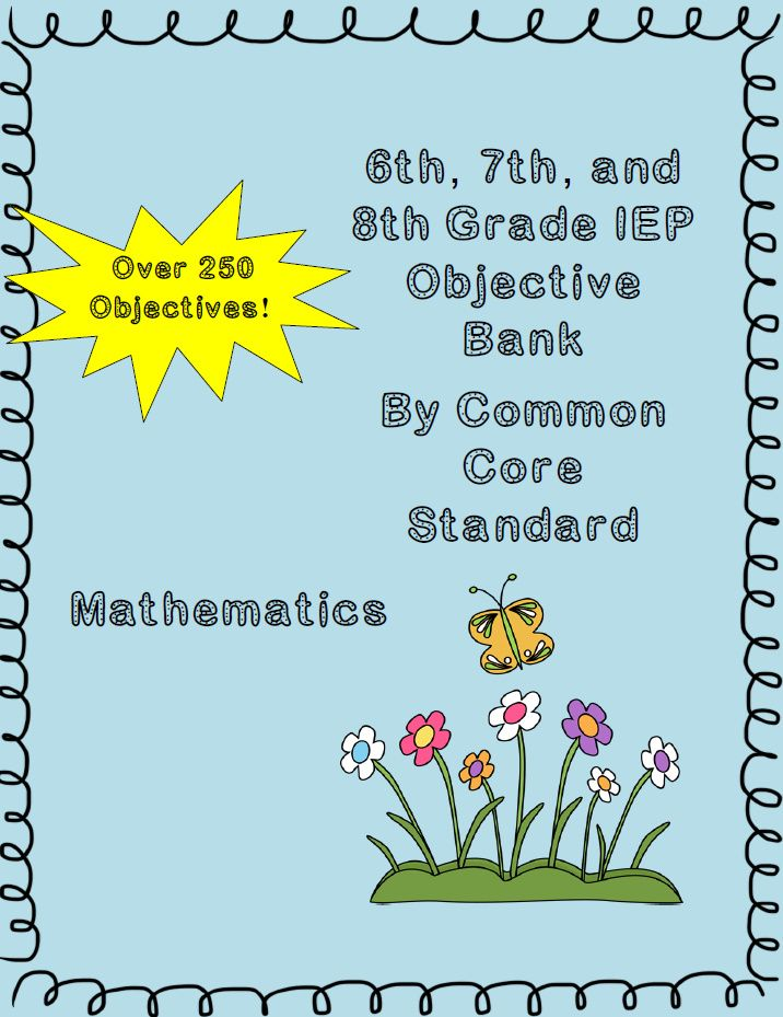 Middle School IEP Goal Objective Bank For Mathematics