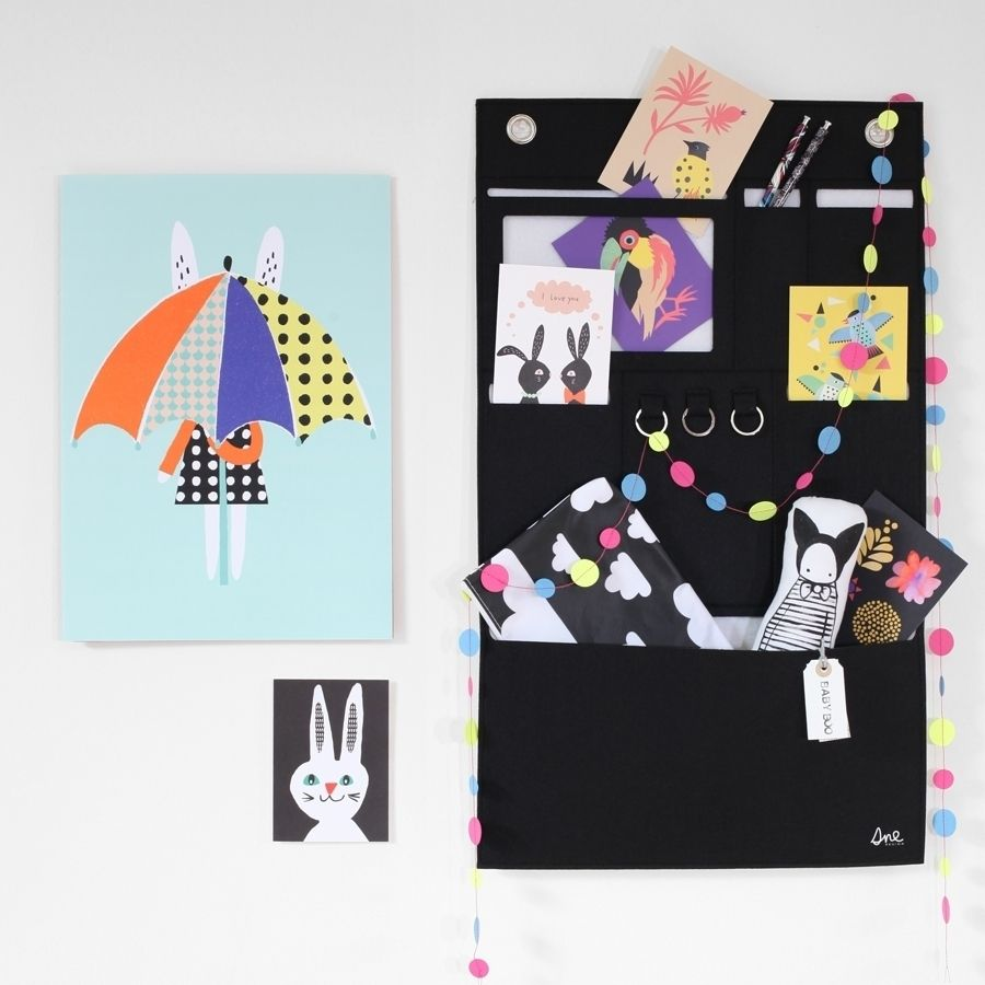New! Felt wall organiser from #SneDesign full of super new postcards and prints from #BeckyBaur and #AnnyWho Check them all out online in our #WhatsNew Category. #Confetti #Bunting #FargForm #WashBag #NakedLunge #BabyBoo #ThisModernLife