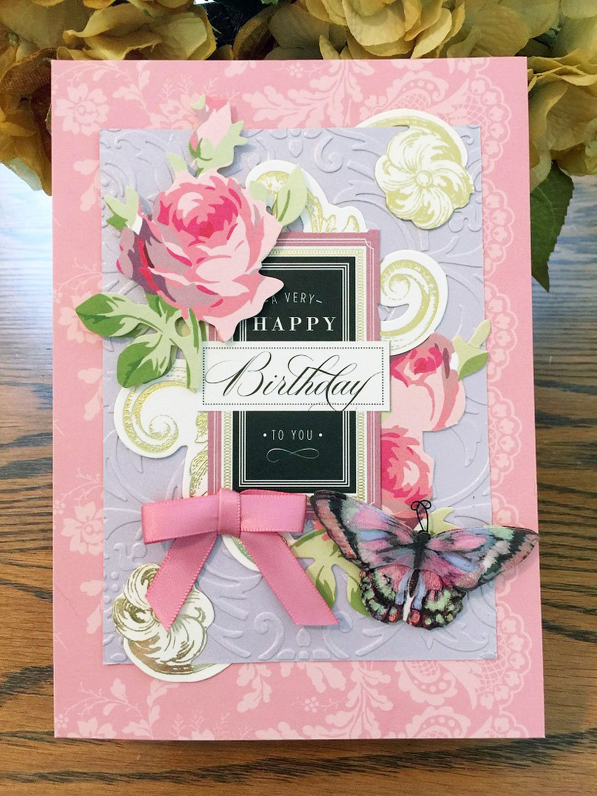 Anna Griffin BD card using AG toppers. By Kaye K. Lystad