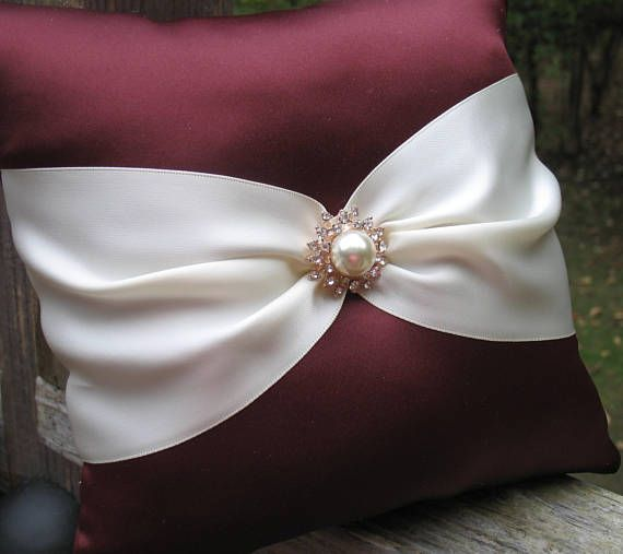 Custom Colors Available White or Ivory Cranberry Wedding Burgundy /& Rhinestone Crystal Ring Bearer Pillow