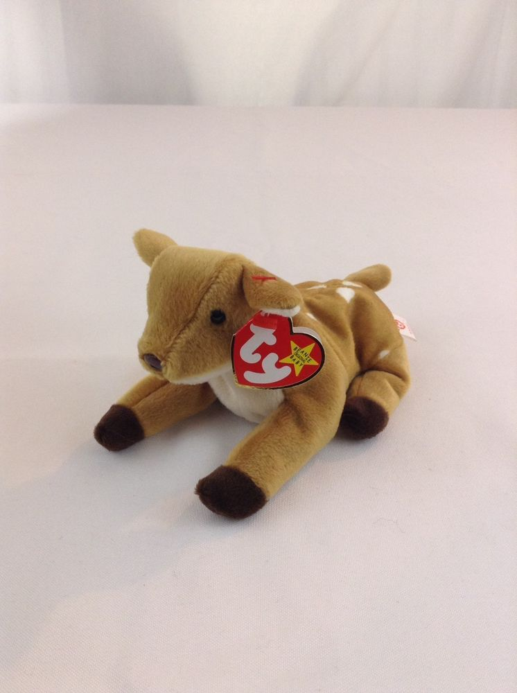 53a7f42438c 1998 Ty Beanie Baby Whispers The Fawn Deer Stuffed Plush Animal Toy With  Tags  Ty