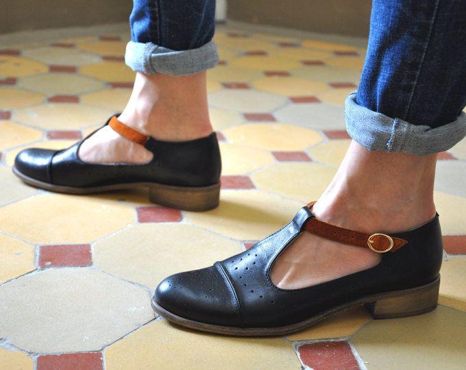 Zapatos negros vintage para mujer PhR3t