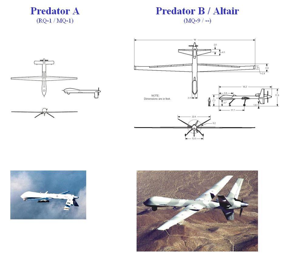 MQ 1 Predator A Vs 9 B Aka Reaper Comparison