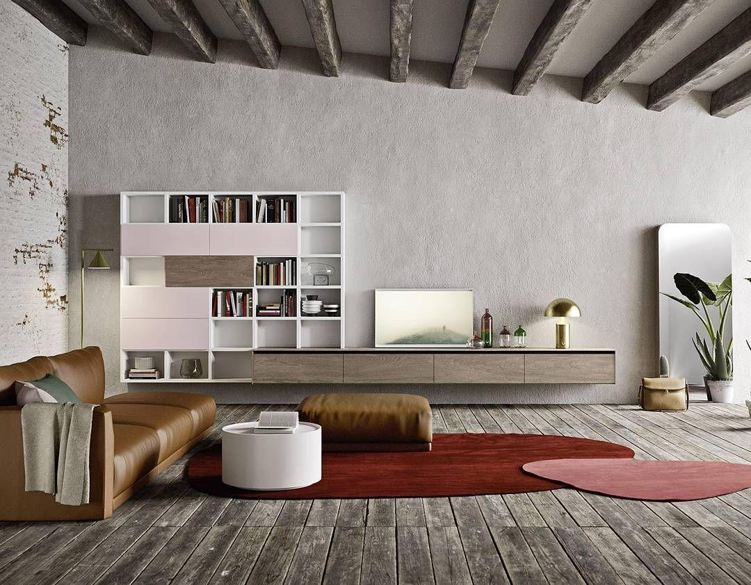 Vintage Trifft Auf Moderne #interior #inspiration #Wohnzimmer #lowboard  #exklusiv #design #dekoration #farben #sofa #wohnwand #bücherregal #spiegel  #teppich ...