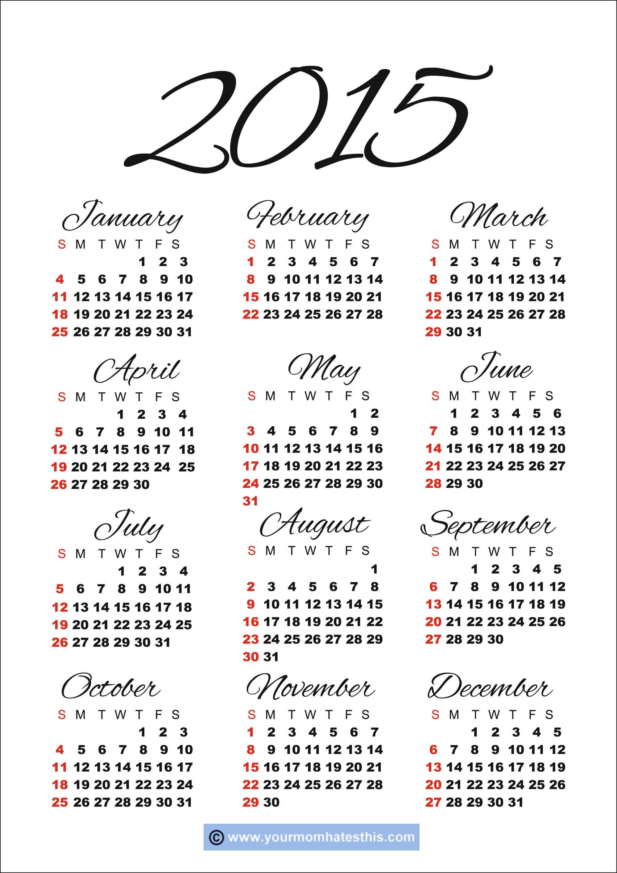 2015 Calendar 2 Jpg 2 000 2 832 Pixels Free Printable Calendar