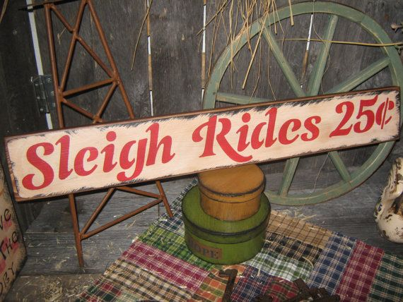 Primitive Large Holiday Wood Sign Christmas SLEIGH RIDES 25 cents Hand Painted Christmas Wall Decoration Rustic Housewares