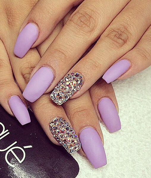 Matte Lavender Nails So Pretty With The Swarovski Crystals