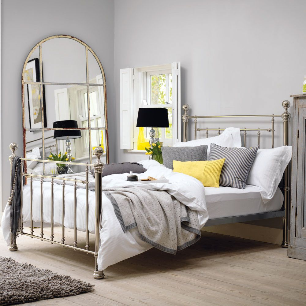 3094bbf5f295 Pop of yellow lifts the grey   neutrals. (Henley Bedstead Nickel by Feather    Black)