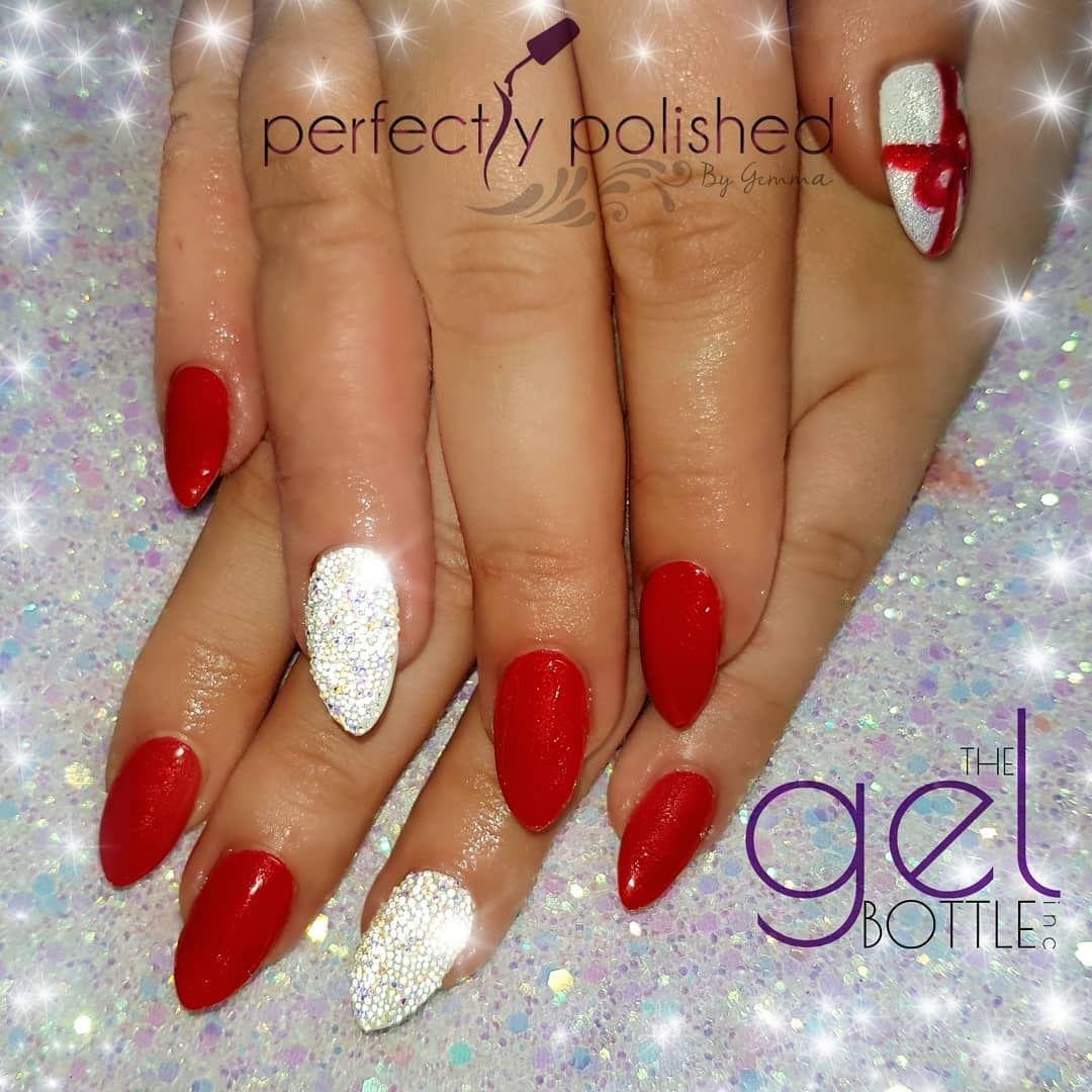 Red parcel Christmas wrap Swarovski pixie crystal nails