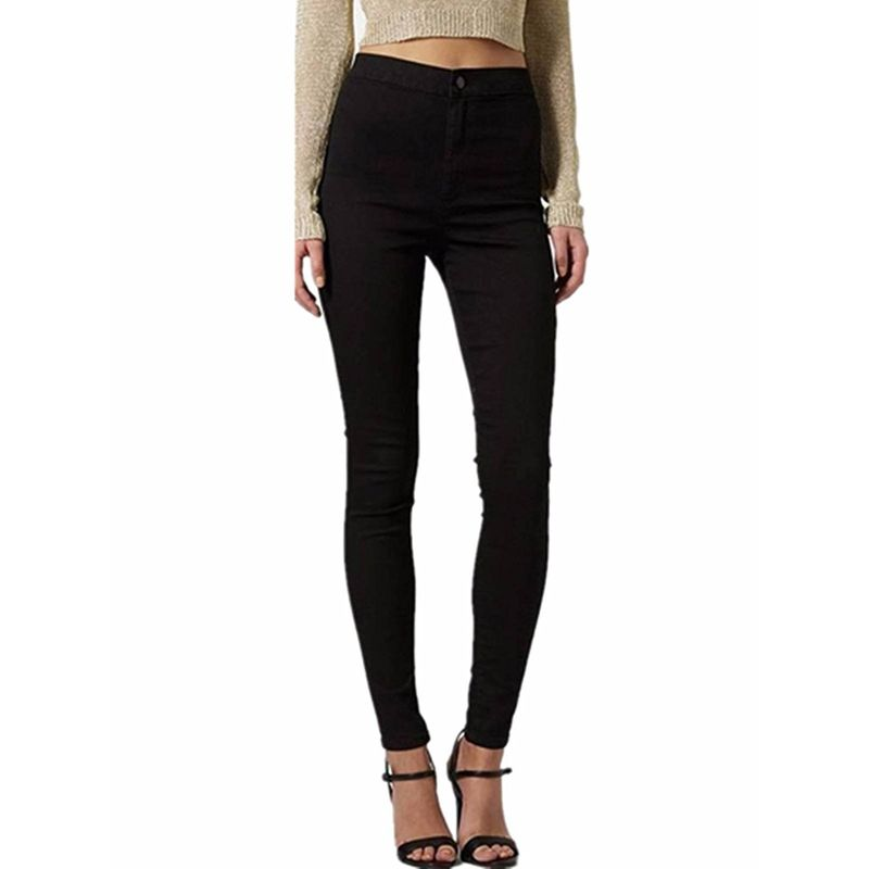 Ladies Pencil Stretch Denim Skinny Cotton Pants High Waist Jeans Slim Trousers-Black