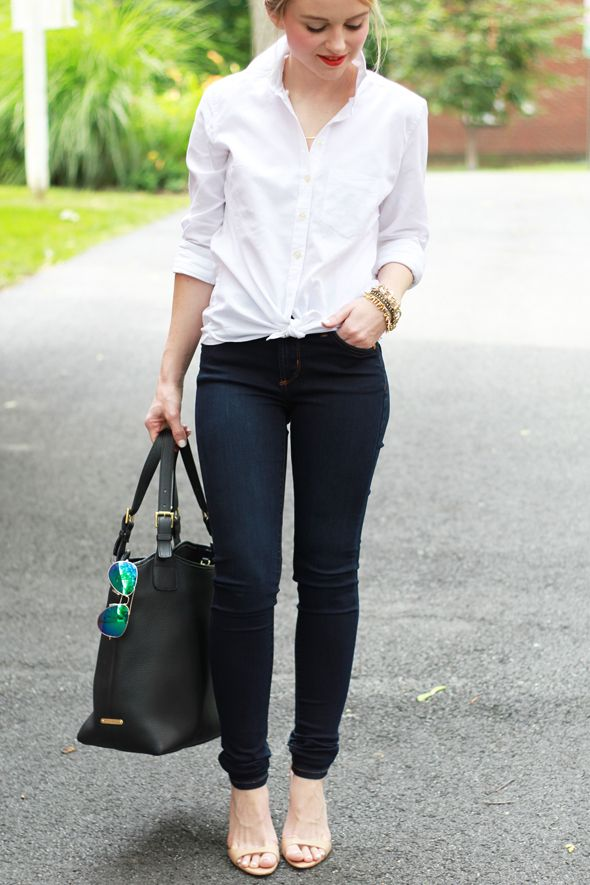 Blogger Poor Little It Girl styles a classic white Gap button-down with skinny jeans and heels ...