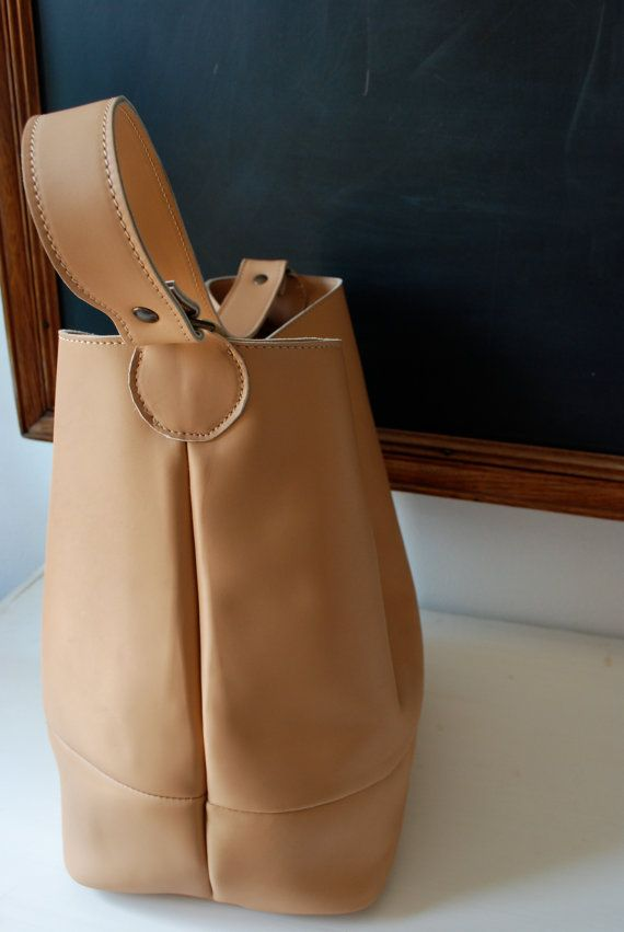 Peach bucket bag nude leather tote bag sturdy leather by NiLiBags